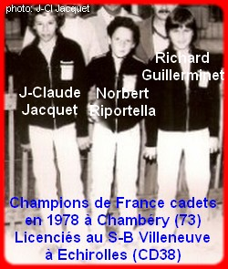 Champions de France pétanque triplettes cadets en 1978