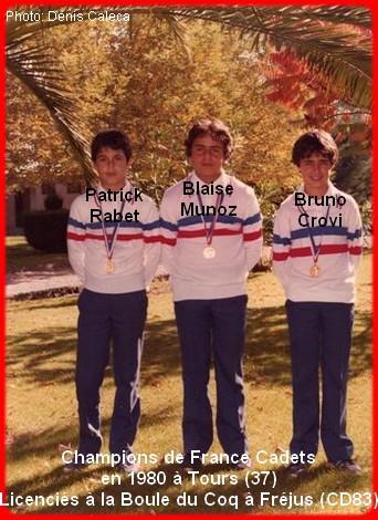Champions de France pétanque triplettes cadets 1980