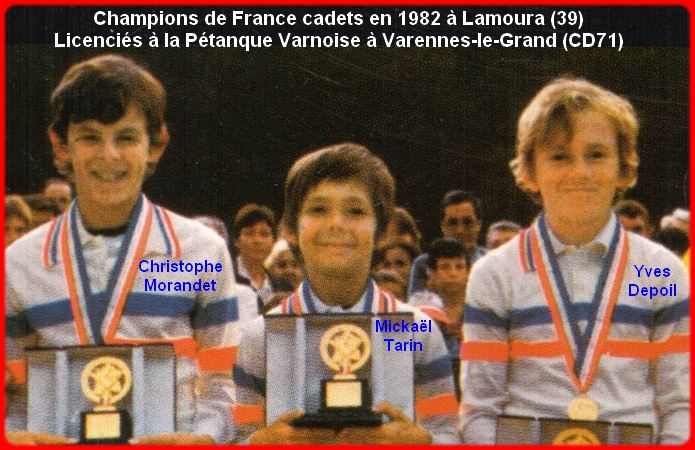 Champions de France pétanque triplettes cadets 1982