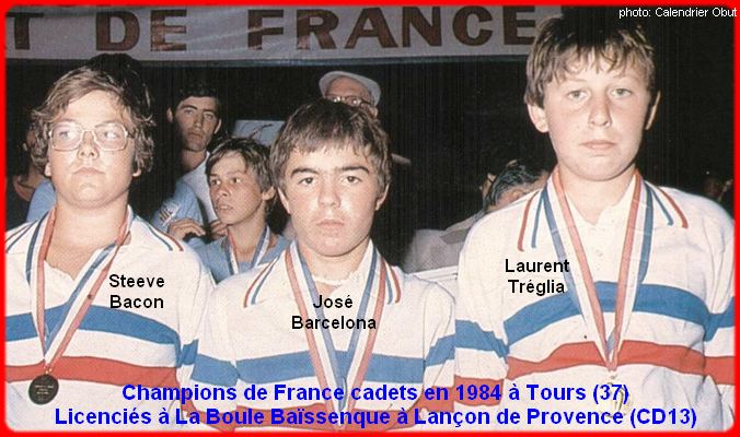 Champions de France pétanque triplettes cadets 1984