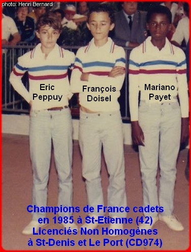 Champions de France pétanque triplettes cadets en 1985