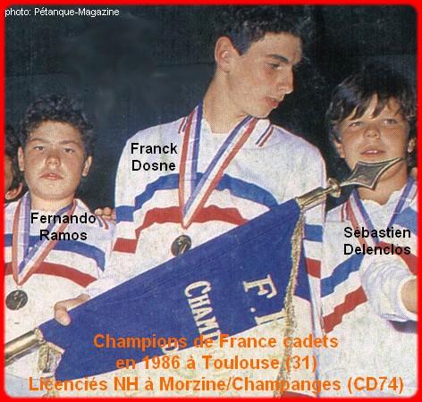 Champions de France pétanque triplettes cadets 1986