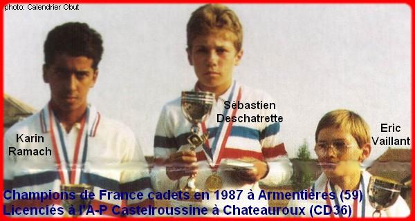Champions de France pétanque triplettes cadets 1987
