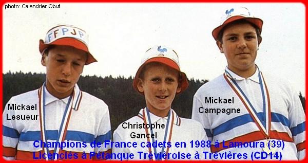 Champions de France pétanque triplettes cadets 1988
