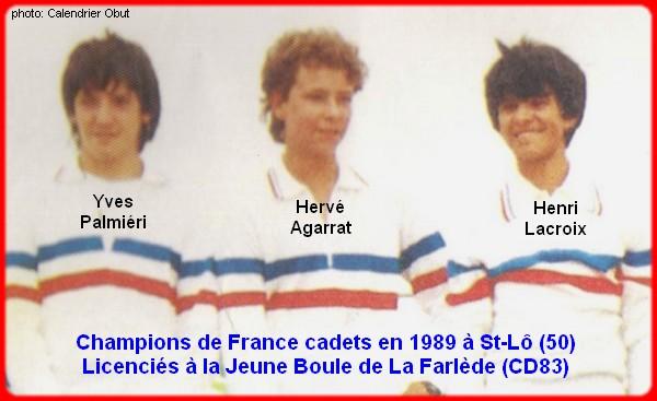Champions de France pétanque triplettes cadets 1989