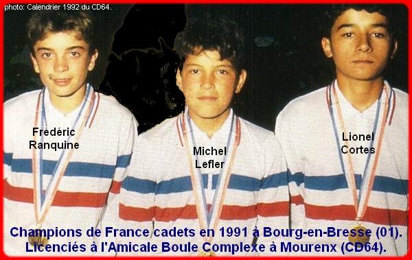Champions de France pétanque cadets triplettes 1991