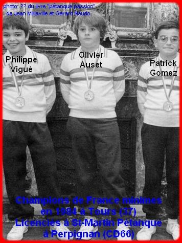 Champions de France pétanque triplettes minimes 1984