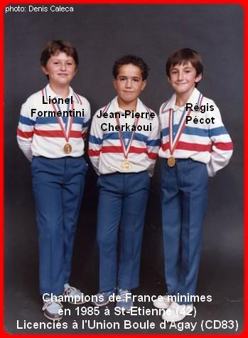 Champions de France pétanque triplettes minimes 1985