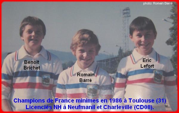 Champions de France pétanque triplettes minimes 1986