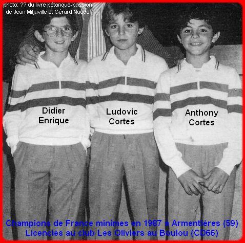 Champions de France pétanque triplettes minimes 1987