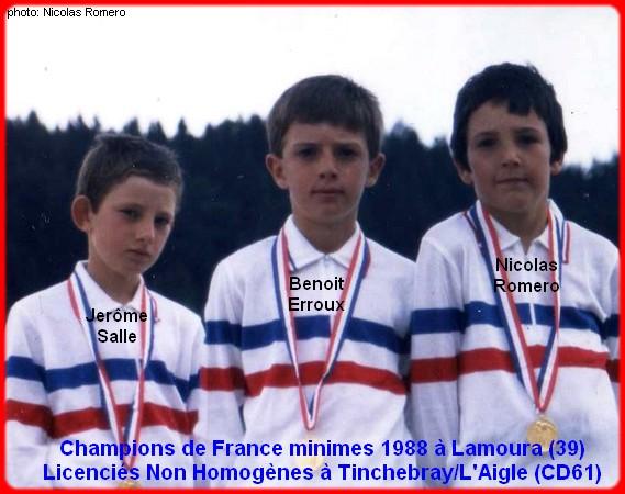 Champions de France pétanque triplettes minimes 1988
