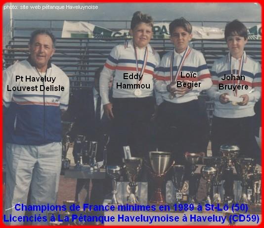 Champions de France pétanque triplettes minimes 1989