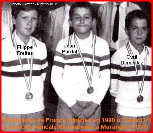 Champions de France pétanque triplettes minimes 1990
