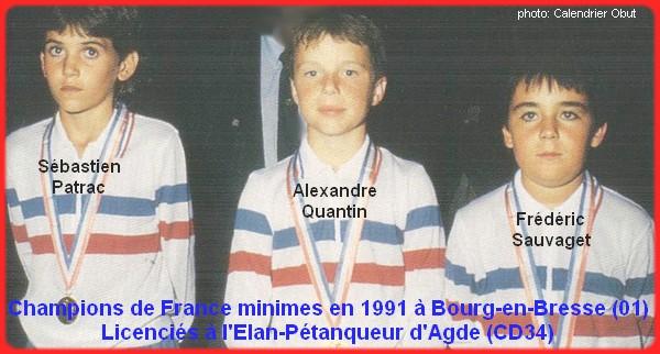 Champions de France pétanque triplettes minimes 1991