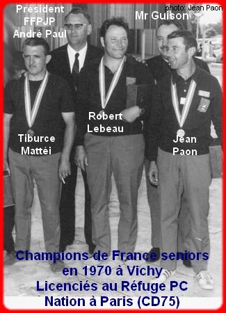 champions de France triplettes seniors pétanque 1970