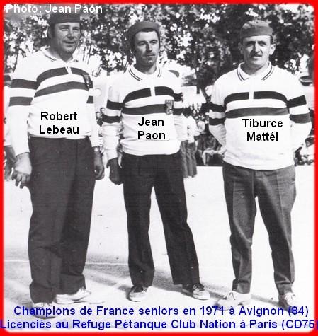champions de France triplettes seniors pétanque 1971