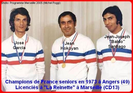 champions de France triplettes seniors pétanque 1973