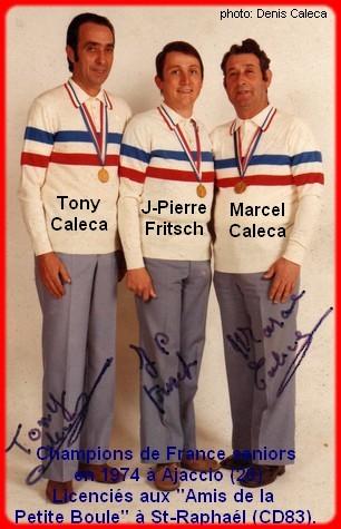 champions de France triplettes seniors pétanque 1974