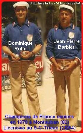 champions de France doublettes seniors pétanque 1970