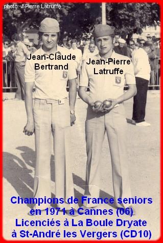 champions de France doublettes seniors pétanque 1971