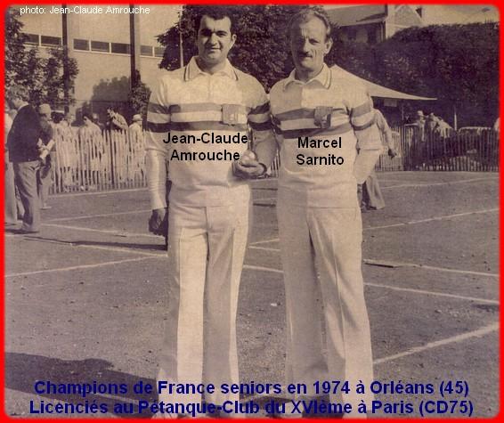 champions de France doublettes seniors pétanque 1974
