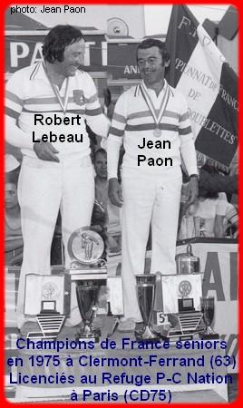 champions de France doublettes seniors pétanque 1975