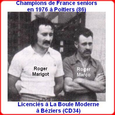 champions de France doublettes seniors pétanque 1976