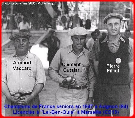champions de France triplettes seniors pétanque 1947