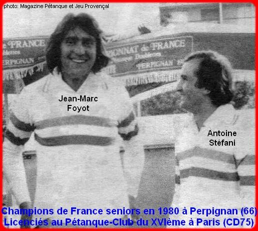 champions de France doublettes seniors pétanque 1980