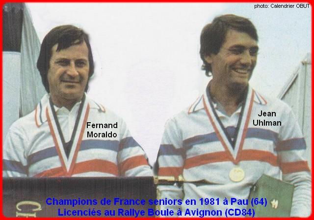 champions de France doublettes seniors pétanque 1981