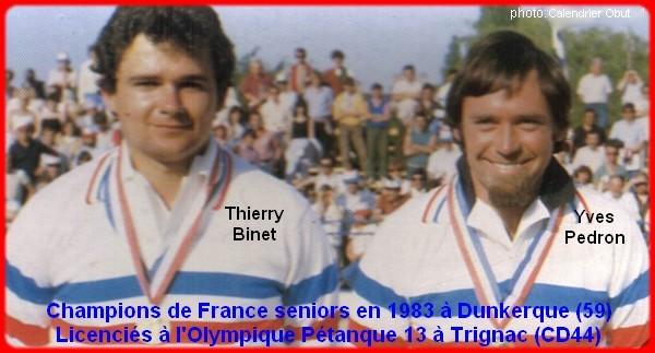 champions de France doublettes seniors pétanque 1983