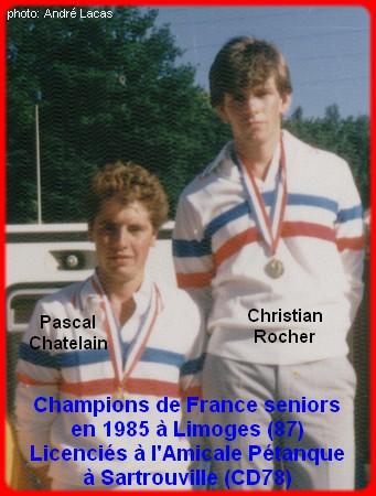 champions de France doublettes seniors pétanque 1985