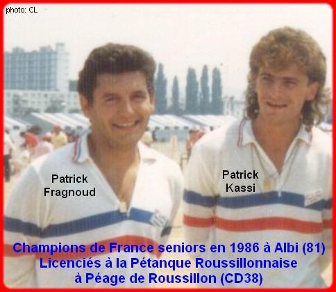 champions de France doublettes seniors pétanque 1986