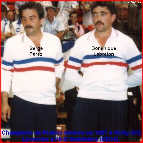 champions de France doublettes seniors pétanque 1987