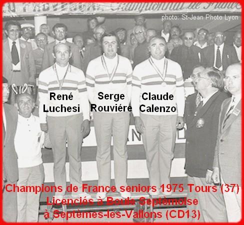 champions de France triplettes seniors pétanque 1975
