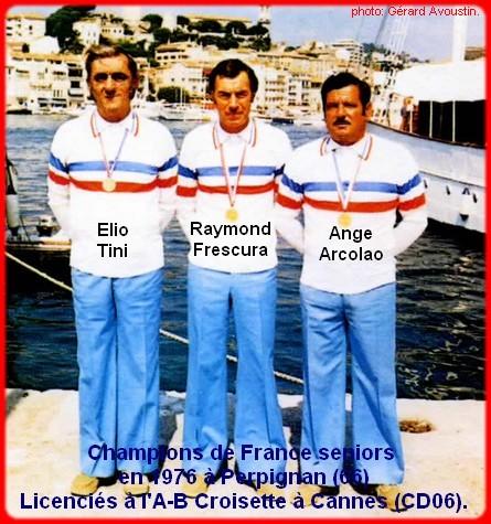 champions de France triplettes seniors pétanque 1976