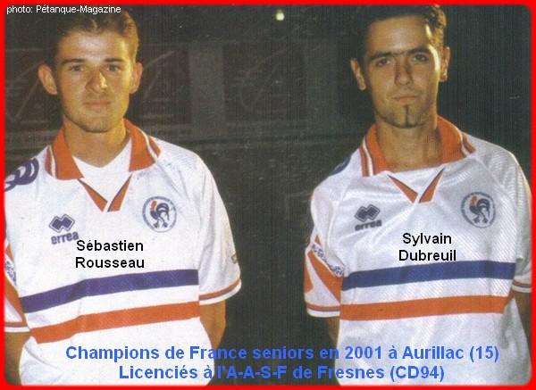 champions de France doublettes seniors pétanque 2001
