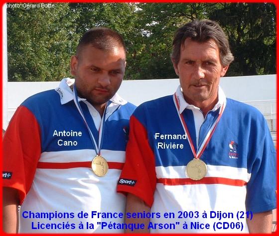 champions de France doublettes seniors pétanque 2003