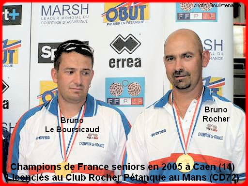 champions de France doublettes seniors pétanque 2005