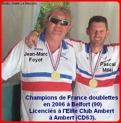 champions de France doublettes seniors pétanque 2006