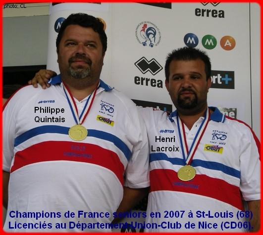 champions de France doublettes seniors pétanque 2007