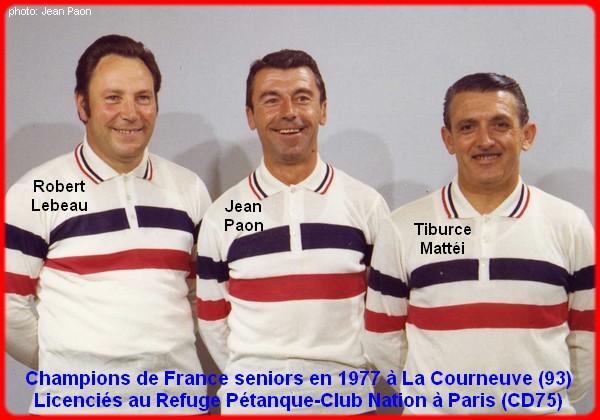 champions de France triplettes seniors pétanque 1977