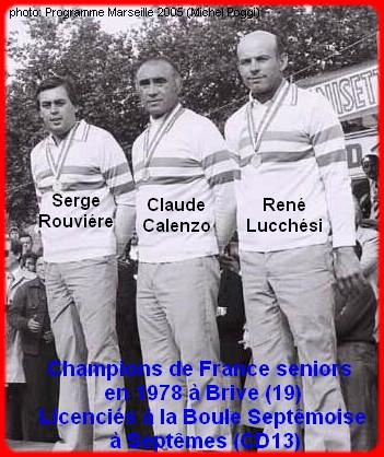 champions de France triplettes seniors pétanque 1978