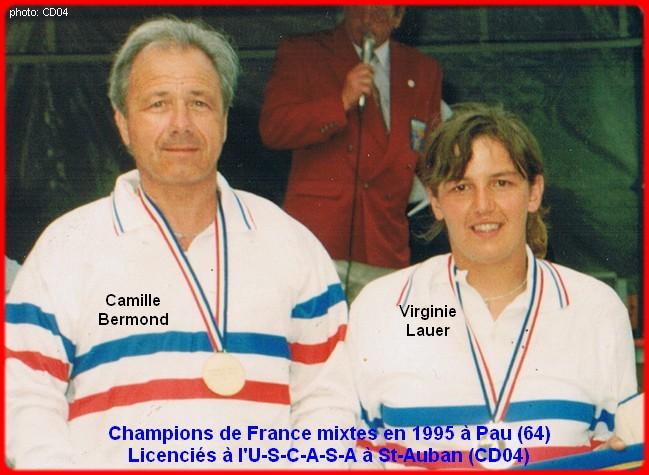 Champions de france pétanque doublettes mixtes en 1995