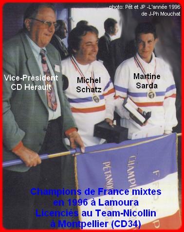 Champions de France pétanque mixtes doublettes en 1996