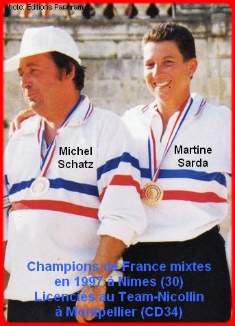 champions de France pétanque mixtes doublettes en 1997