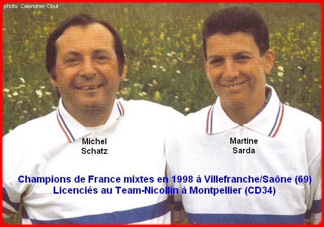 Champions de France pétanque mixtes doublettes en 1998