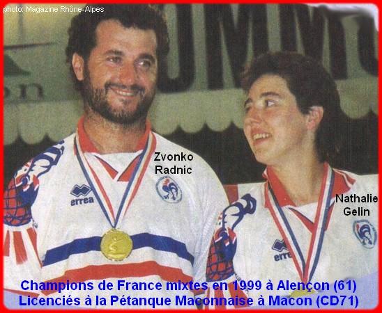Champions de France pétanque mixtes doublettes en 1999