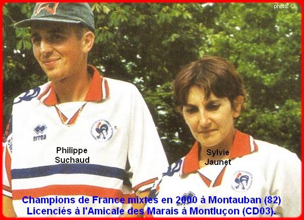 Champions de France pétanque mixtes doublettes en 2000