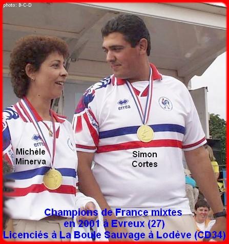 champions de France pétanque mixte doublettes en 2001